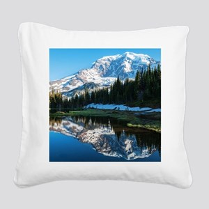 Mt. Rainier Square Canvas Pillow