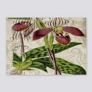 vintage french botanical orchid 5'x7'Area Rug