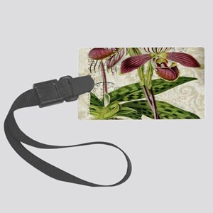 vintage french botanical orchid Large Luggage Tag