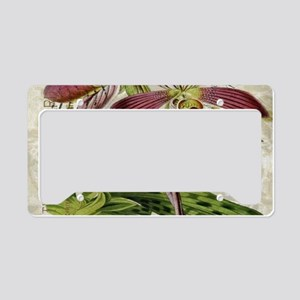 vintage french botanical orch License Plate Holder