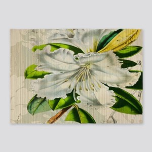 french botanical white lily 5'x7'Area Rug