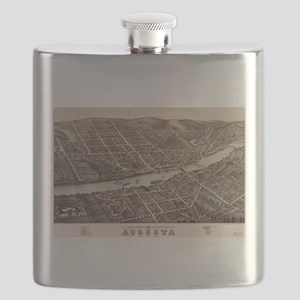 Vintage Pictorial Map of Augusta Maine (1878 Flask