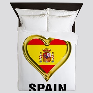 I HEART FLAG SPAIN Queen Duvet