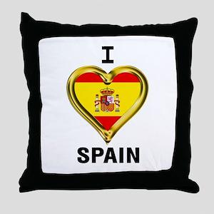 I HEART FLAG SPAIN Throw Pillow