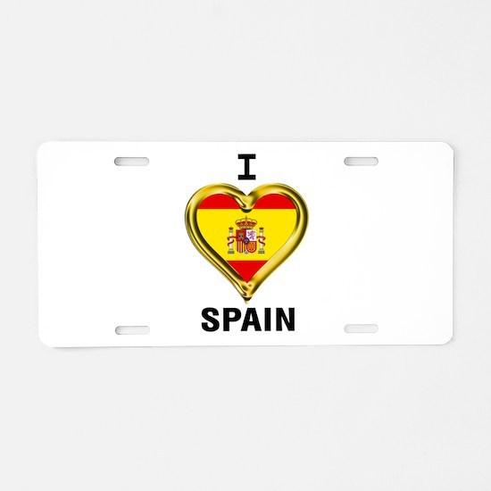 I HEART FLAG SPAIN Aluminum License Plate