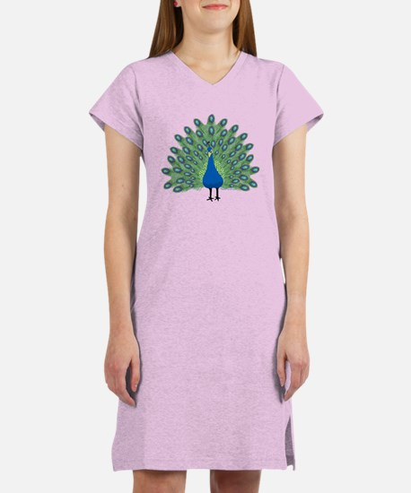 Peacock Front And Back Women's Nightshirt