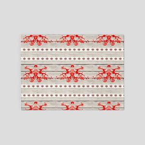 nordic christmas pattern reindeer 5'x7'Area Rug