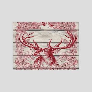 merry christmas rustic deer 5'x7'Area Rug