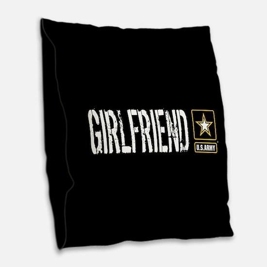 U.S. Army: Girlfriend (Black) Burlap Throw Pillow