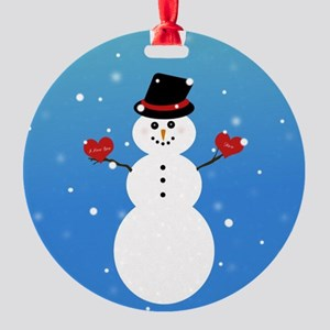 I Love You More Snowman Round Ornament