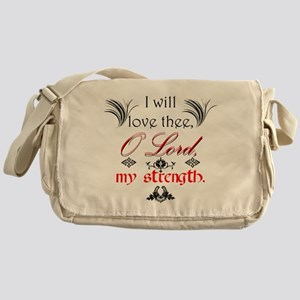 Psalm 18:1 Quote 1 Messenger Bag