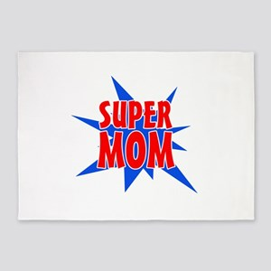 Super Mom Mother's Day Design 5'x7'Area Rug