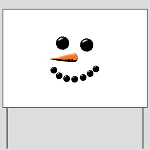 Happy Snowman Face Yard Sign