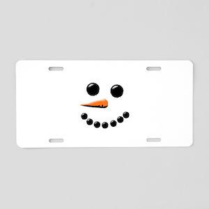 Happy Snowman Face Aluminum License Plate