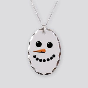 Happy Snowman Face Necklace Oval Charm