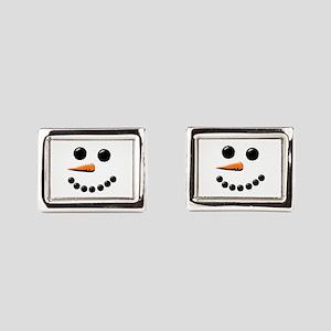 Happy Snowman Face Rectangular Cufflinks