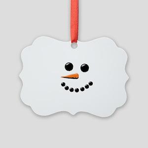 Happy Snowman Face Picture Ornament