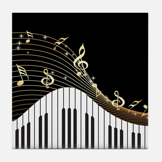 Ivory Keys Piano Music Tile Coaster
