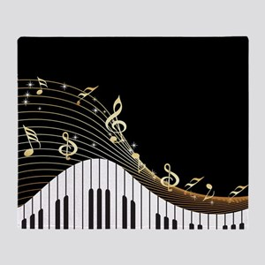 Ivory Keys Piano Music Throw Blanket