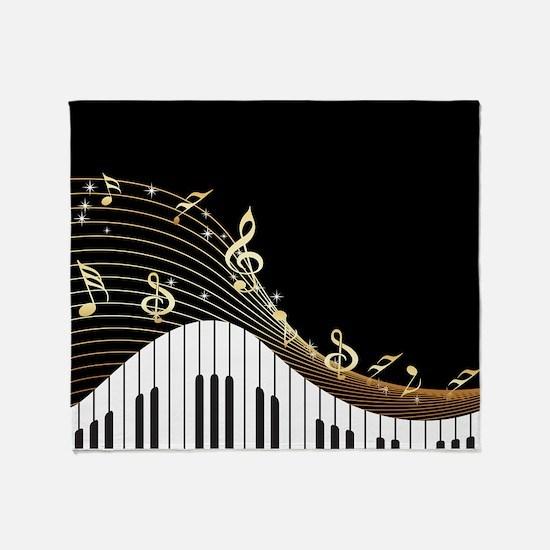 Ivory Keys Piano Music Throw Blanket