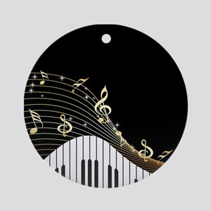 Ivory Keys Piano Music Ornament (Round)
