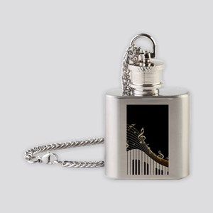 Ivory Keys Piano Music Flask Necklace