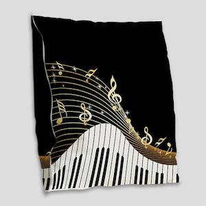Ivory Keys Piano Music Burlap Throw Pillow