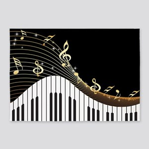 Ivory Keys Piano Music 5'x7'Area Rug