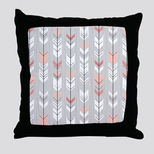 Feathered Flight on Grey Throw Pillow