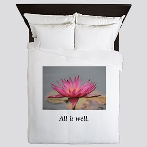 All Is Well Water Lily Gifts Queen Duvet