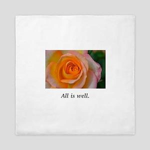 All Is Well Rose Blessings Queen Duvet
