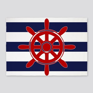 Navy Blue Horizontal Stripes with R 5'x7'Area Rug