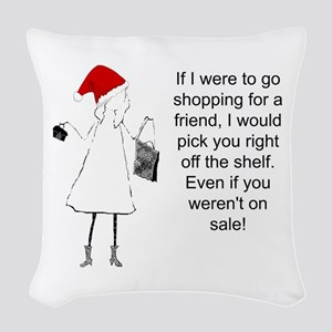 Shopping for a Friend, Christmas Woven Throw Pillo