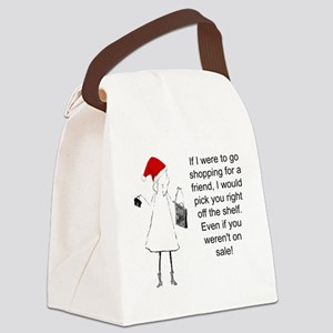 Shopping for a Friend, Christmas Canvas Lunch Bag