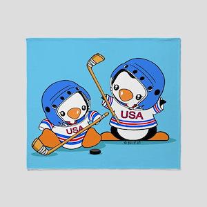 Ice Hockey Penguins Throw Blanket