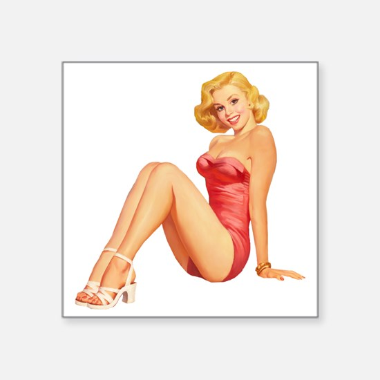 "Pin up Square Sticker 3"" x 3"""