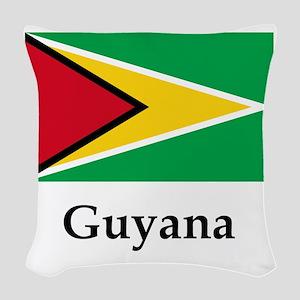 Guyana Flag Woven Throw Pillow