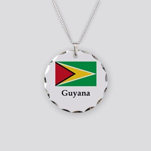 Guyana Flag Necklace Circle Charm