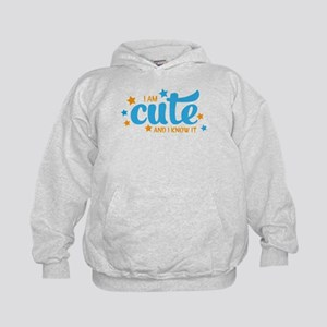 i am cute and i know it Kids Hoodie