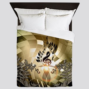 Clef on colorful background Queen Duvet