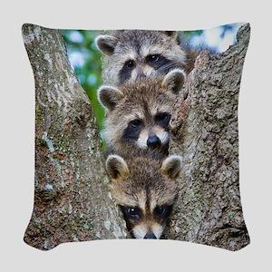 Baby Raccoons Woven Throw Pillow