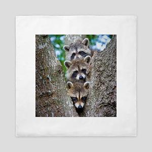 Baby Raccoons Queen Duvet