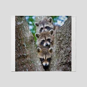Baby Raccoons Throw Blanket