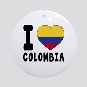 I Love Colombia Round Ornament