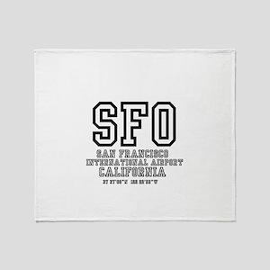 AIRPORT CODES - SFO - SAN FRANCISCO, Throw Blanket