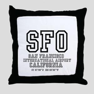 AIRPORT CODES - SFO - SAN FRANCISCO, Throw Pillow