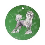 Chinese Crested Round Ornament