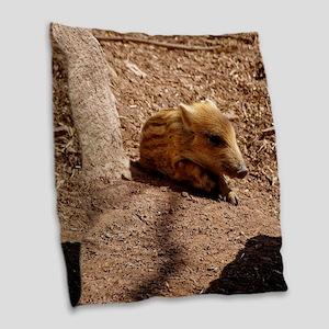 Baby Boar Burlap Throw Pillow