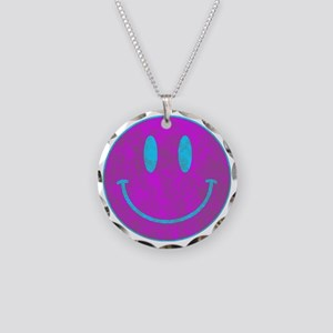 Happy FACE Turq EYES Necklace Circle Charm