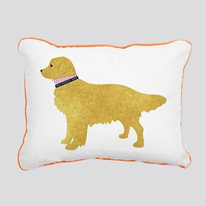 Preppy Golden Retriever Rectangular Canvas Pillow